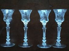 "Cambridge Glass  Rose Point Etch "" Set of4 "" Cordial Goblets #3500 stem "" MINT """