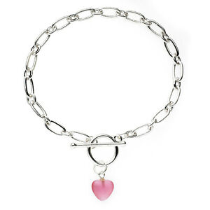 Silver Plated Pink Heart Toggle Clasp Bracelet 19cm
