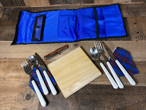 Picnic Time Pack Blue Wine Corkscrew Cheese Cutting Board 2 Napkins + Utensils
