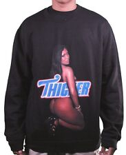 T.I.T.S. Mens Black Booty Woman Girl Thicker Sweatshirt Crew Neck Sweater Large