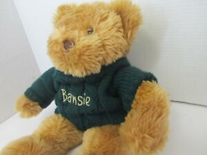 """Barnes & Noble Barnsie Bear with  Green Sweater Limited Edition  Plush 16"""""""