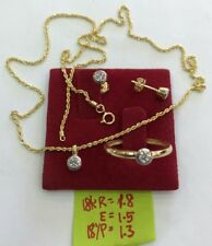 Gold Authentic 18k gold earrings ,necklace & pendant with ring size 6