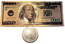 1 TROY OUNCE .999 FINE SILVER INCUSE INDIAN BU + 1 99.9% 24K GOLD $100 BILL