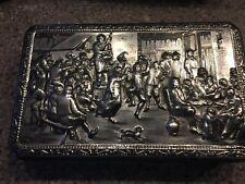 Vintage Teniers Tin Box Metal Silver Tone 1930s Belgium hinged