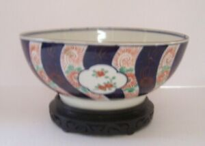 Large Early Fine Porcelain Asian Polychrome Center Bowl with Stand