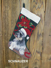 DOG Schnauzer New Needlepoint Christmas Stocking with Embroidery included
