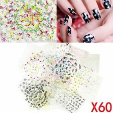 60 Sheets 3d Butterfly Floral Design Nail Art Flower Sticker Tips Decal  Manicure be0a9bbfe48e