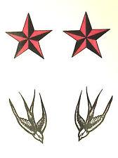 1 X traga y estrellas Multi Color Tatuaje Temporal TY0236