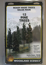 "WOODLAND SCENICS READY MADE TREES CONIFER COLORS O GAUGE PINE 12 pk 6-8"" 1582"