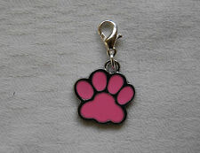 Clip on bracelet charm PINK DOGS PAW silver plated clasp enamel charm