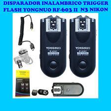 2x DISPARADOR FLASH YONGNUO RF603-II N3 NIKON D90 D3200 D3300 D5200 D5300 D610
