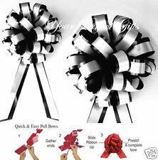 """10 BLACK WHITE 8"""" PULL PEW BOW WEDDING CHAIR DECORATION"""