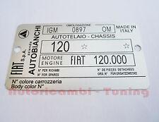 PLACA DE RESUMEN DATI FIAT AUTOBIANCHI JARDINERO MOTOR 120.000 C289
