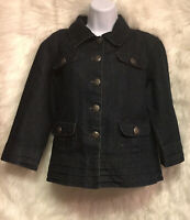Baccini Women's Sz L Jacket Denim Blue Jean Front Pockets Collar Buttons - EUC
