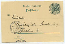 DOA-German East Africa GA Postcard Dar-es-Salaam Berlin 1899