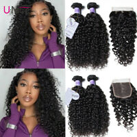 UNice Kysiss Brazilian Curly Hair 2 Bundle with Lace Closure 100% Human Hair US
