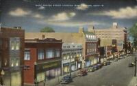Marion OH West Center St. West Linen Postcard