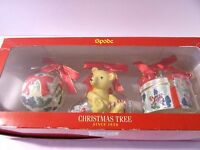Spode Ornaments 2005 Set 3 Christmas Tree Teddy Bear Gift Present Bauble Ball