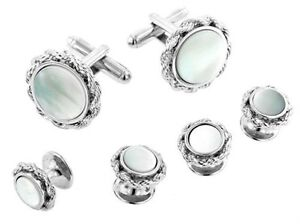 Mother of Pearl Rope Silver Plated Studs and Cufflinks Set