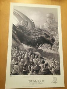 GAME OF THRONES LIMITED EDITION PRINT FIRE & BLOOD 018/100, SIGNED WHEATLEY
