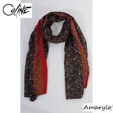 Grand Foulard satin polyester soie artificielle Bhutti Fleurs COLINE Noir Rouge