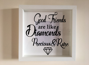 Box Frame Vinyl Decal Sticker Wall art Quote Good friends are like diamonds