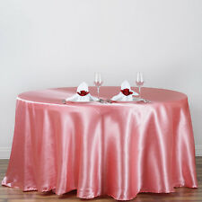 "1 pc Rose Quartz Pink 120"" ROUND Satin TABLECLOTH Wedding Party Kitchen Tabletop"