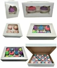 Windowed Cupcake Boxes for 1, 2, 4, 6, 12 & 24 Cup Cakes with Removable Trays