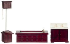 Dolls House Victorian Mahogany Bathroom Suite Miniature Furniture Set