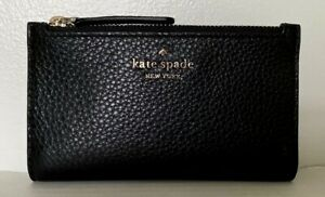New Kate Spade New York Jackson small Slim Bifold wallet Leather Black