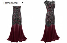 Women's Evening Prom Dress SIZE 2/4, 1920s Black Sequin Gatsby Maxi Long