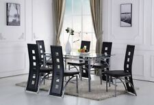 Modern Dining Table Room Home Furniture Kitchen Breakfast Dinner Glass Top Set