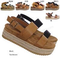 Riri26 Retro Espadrilles Platform Wedge Flatform - Footbed Molded Casual Sandals