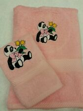 PERSONALISED PANDA & FLOWER TOWEL SET NEW BABY HAND TOWEL AND FACE CLOTH