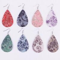 Morocco Floral Teardrop Vegan Leather Earrings Women Spring Summer Jewelry Gift