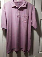 Peter Millar Men's Pink Sky Blue Striped Golf Polo Short Sleeve Shirt Sz XL