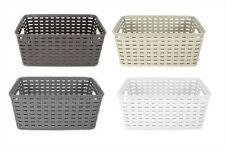 Rattan Style Rectangle Plastic Kitchen Home Garden Storage Fruit Basket Small White Set of 3