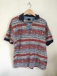 STRUCTURE VINTAGE POLO SHIRT PATRIOTIC PATTERN RED WHITE BLUE M MEDIUM