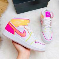 Jordan 1 Mid Edge Glow White Pink Multiple Sizes CV4611-100