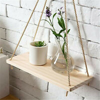 Wood Swing Hanging Rope Wall Mounted Floating Shelves – Plant Flower Pot