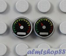 LEGO - 2 pcs Speedometer Gauge w/ Red Pointer - 1x1 Round Tile Silver Lot