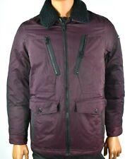 Tommy Hilfiger Mens Down Jacket Puffer New S Purple Black Fur Collar Zipper