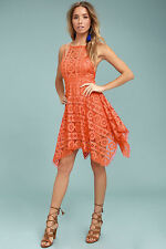 Free People Just Like Honey Lace Midi Dress red/orange Retail: $128 NWD Size 4