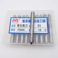 KLOT Solid Carbide Ball Nose End Mill R0.5mm-R10mm Extended 100mm Cutter Bit K10