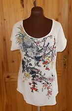 PHASE EIGHT cream ivory red purple floral birds chiffon tunic t-shirt top 10 38