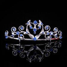 Kids Heart Blue Flower Girl Children Wedding Prom Tiara Crown Headband  Kid Size