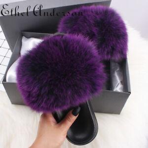 Farm Fox Fur Slippers Furry Fluffy Flip Flop Casual Heel Women's Plush Fur Slide