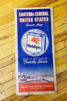 Vintage MOBIL OIL SOCONY PEGASUS HORSE ROAD MAP-CAR-GAS STATION OLD ADVERTISING