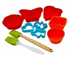 11 Pcs Children's Silicone Baking Biscuit Cake Moulder Shaper Tool Xmas Gift Set