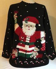 Nut Cracker XL Ugly Christmas Sweater Black Santa Teddy Bear Candy Cane Acrylic